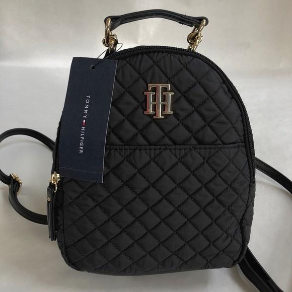 d43efe06b4 Tommy Hilfiger Backpack Mini Black Quilted TH Logo